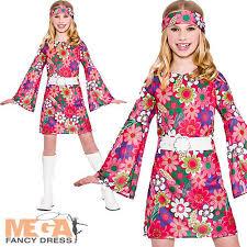 retro gogo 60s 70s childs hippy fancy dress kids hippie 1960s