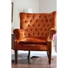 Velvet Wingback Chair Vintage Orange Velvet Wingback Chair Polyvore