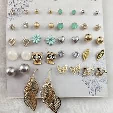 ear studds 2018 fashion bird owl earring blue flower butterfly ear