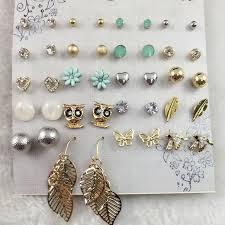 ear studs 2018 fashion bird owl earring blue flower butterfly ear