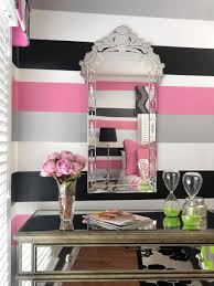Pink And Black Bedroom Furniture Wide Wall Stripes In Black White Gray And Pink Turn A Teen
