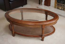 Oval Wood Coffee Table Wooden Coffee Table Glass Top Ebay