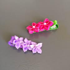 ribbon hair clip offray flower and ribbon hair clip