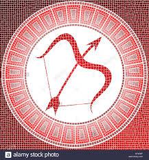 element fire sagittarius zodiac sign on a mosaic stock photo
