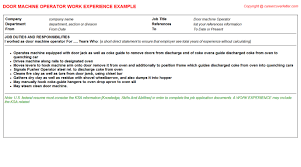 Job Description For Machine Operator Resume by Door Cv Work Experience Samples