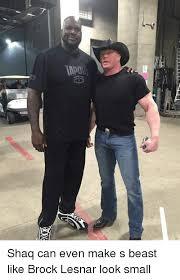 Brock Lesnar Meme - shaq can even make s beast like brock lesnar look small shaq meme