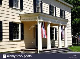 new york city entrance portico with four columns at the historic