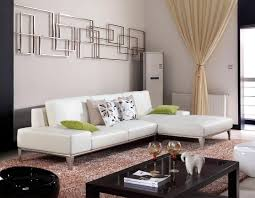minimalist living room decoration with white leather sectional