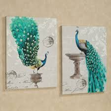art for home decor decor peacock fanfare canvas wall art set of two and faux wall