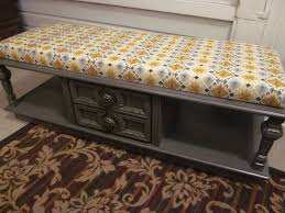 another 70s coffee table upcycled into a fun mustard yellow and