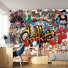 fototapete kinderzimmer junge fototapete graffiti 366 x 254 cm kinderzimmer steinwand bunt