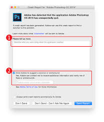 submit submit a crash report for adobe photoshop and lightroom