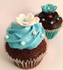 cupcakes chocolate y turquesa para baby shower cupcakes