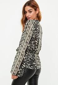 paisley blouse black paisley drape plunge blouse missguided