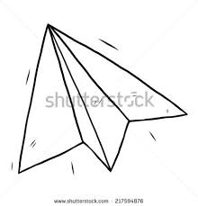 paper airplane cartoon vector illustration black stock vector