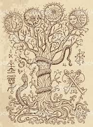 religious symbols tree of knowledge and forbidden fruit on texture