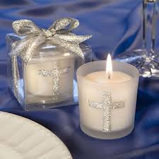 christening party favors silver cross themed baptism candle favors price favors
