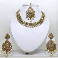 gold tone necklace set images Bollywood fashion style traditional indian jewellery wedding style jpg