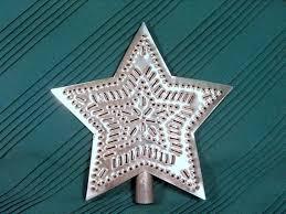 tin tree topper 9 inch metal in pattern