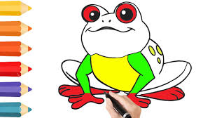 coloring pages cute frog u0026 drawing for children how to color by