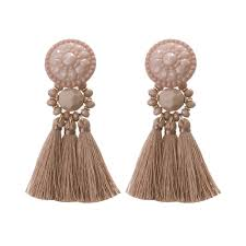 statement earrings blush tassel statement earrings