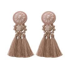 blush tassel statement earrings