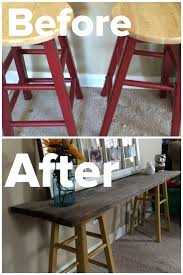 Pottery Barn Ladder Shelf Diy Sofa Table 2 Stools Painted With 2 Coats Of Paint U0026 A Piece