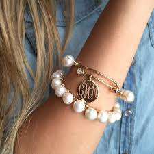 pearl monogram necklace monogram pearl wrapped adjustable bangle bracelet i jewelry