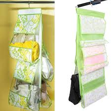 fashion green leaf printed nonwovens 5 pocket bag purse storage