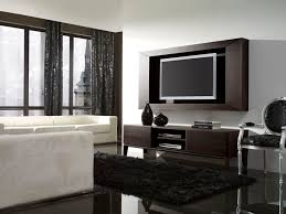 Furry Black Rug Furniture Fancy Modern Living Room Decoration Using Modern Solid