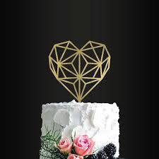 heart cake topper wedding cake topper geometric heart cake topper wedding cake