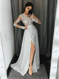 light gray formal dresses buy a line v neck long sleeves light gray prom dress with appliques