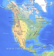 Blank Map Of Continents And Oceans Worksheet by North America Physical Map U2013 Freeworldmaps Net