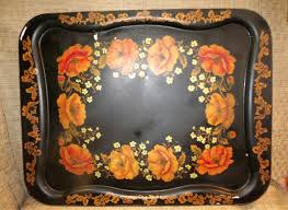 Poppy Home Decor by Vintage Black Metal Tray Hand Painted W Orange Poppies Poppy