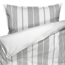 organic cotton duvet cover with grey yarn dyed seersucker stripes