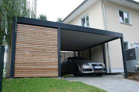 design metall carport aus holz stahl mit geräteraum individuell