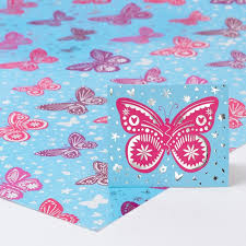 blue foil wrapping paper blue foil butterfly luxury wrapping paper gift tag only 69p