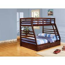 Two Floor Bed by Varnished Wooden Oak Bunk Bed With Two Drawers Using Green Bed