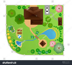 English Garden Layout by House Garden Layout Vector View Above Stock Vector 301073006