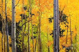 nature painting aspen trees by gary kim