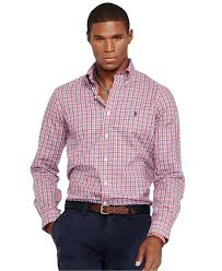 polo ralph lauren plaid oxford shirt in red for men lyst