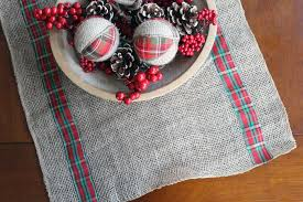 make your own table runner burlap and plaid table runner for christmas the country chic cottage
