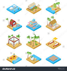 beach vacation collection bungalow boat villa stock vector