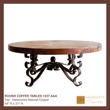 040 round coffee table iron base chocolate finish copper natural