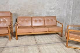 danish living room danish teak and leather living room set from juul kristensen for