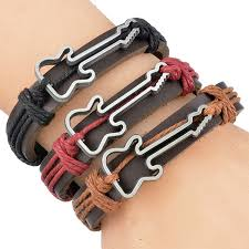 leather cuff wrap bracelet images Housweety 4pcs guitar vintage style exotic leather cuff wrap jpg