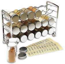 Labels For Kitchen Canisters Amazon Com Decobros Spice Rack Stand Holder With 18 Bottles And