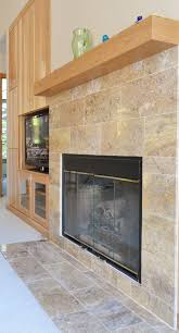 astonishing brown marble tile fireplace surround on black design