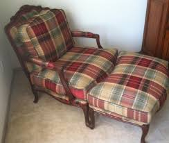 Plaid Ottoman Plaid Bergere Chair And Ottoman Together With Interesting Themes