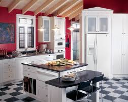 Best Red Kitchens Images On Pinterest Red Kitchen Kitchen - White kitchen wall cabinets